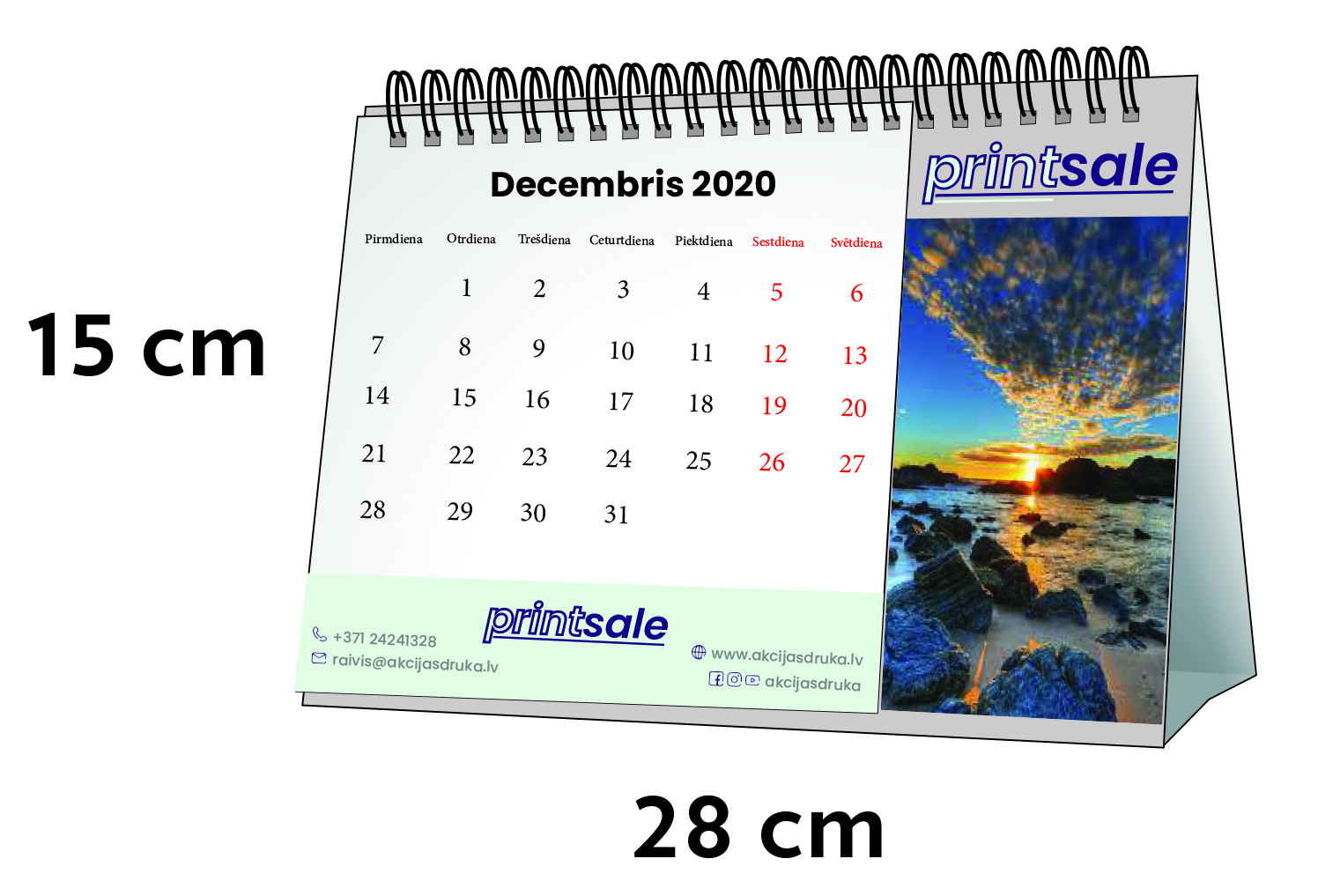 Galda kalendāru izgatavošana un druka