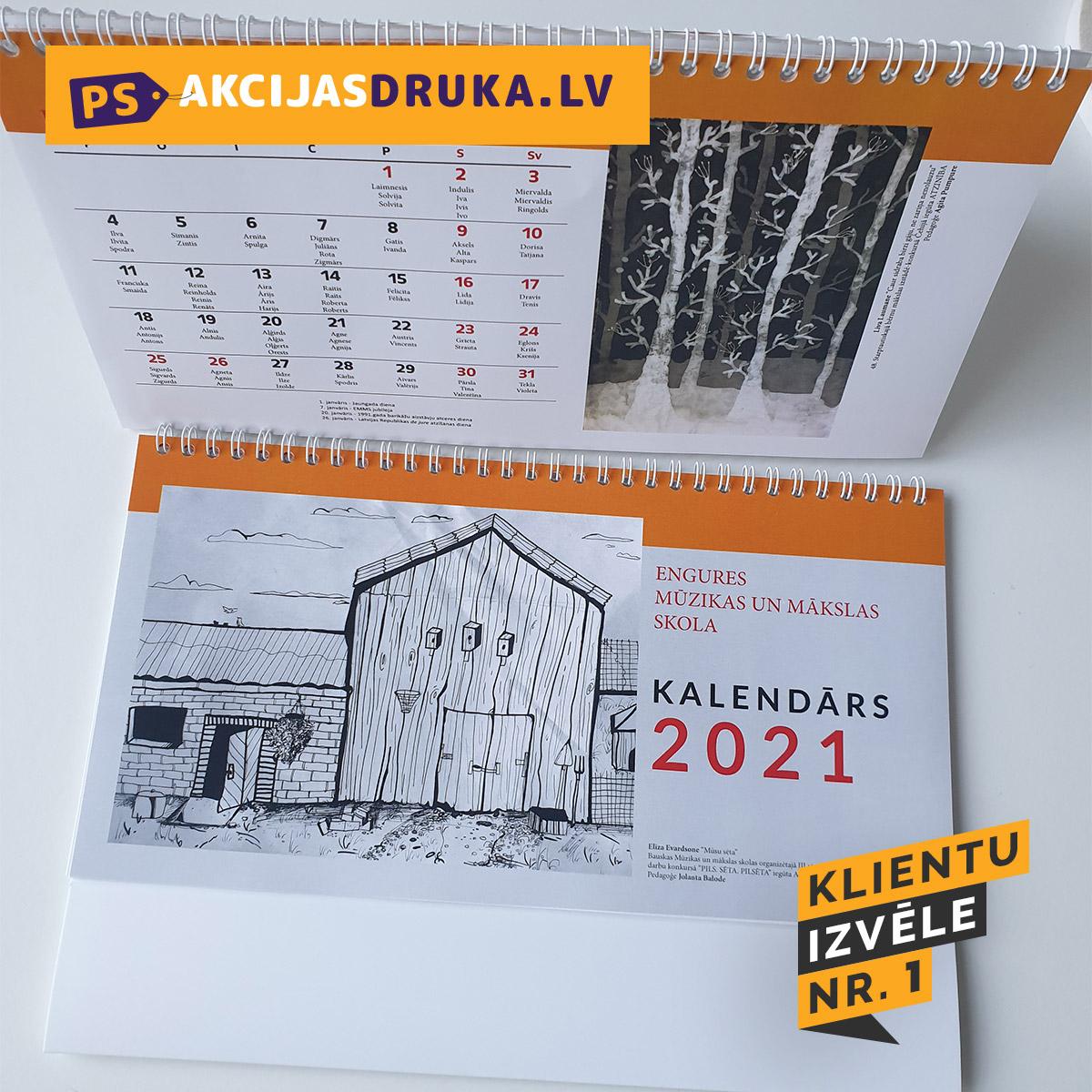 Kalendāru izgatavošana un galda kalendāru druka