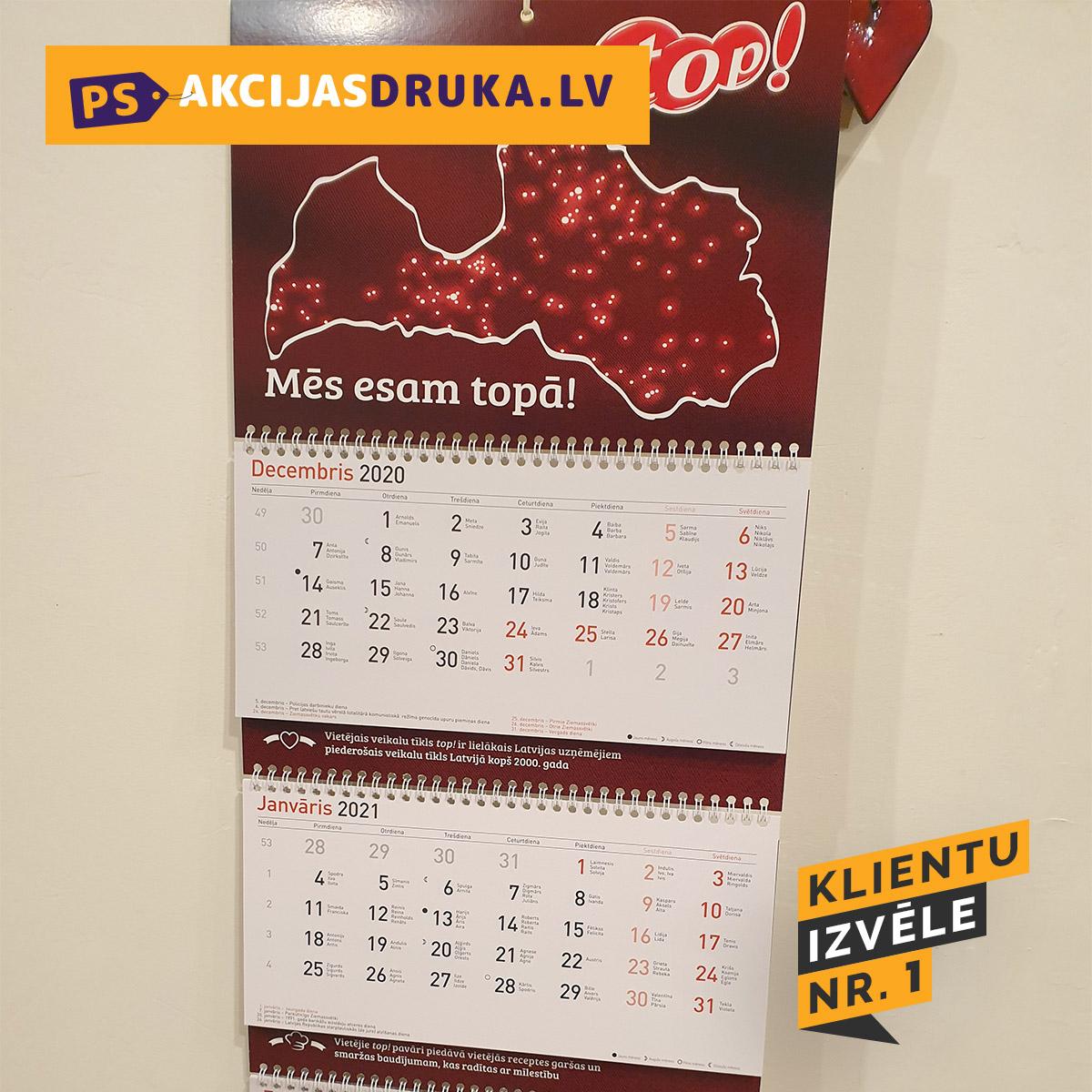Sienas kalendāri un sienas kalendāru druka